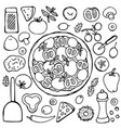 hand drawn vegetarian pizza vector image