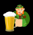 happy stpatrick s day leprechaun and mug beer vector image vector image