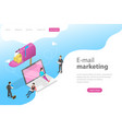 isometric landing page template for e-mail vector image