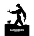 man dancing flamenco and bull in the background vector image