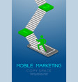 mobile marketing concept pictogram man icon green vector image