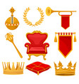 monarchy attributes set golden orb laurel wreath vector image