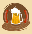 mug of beer with foam and two sausages vector image vector image