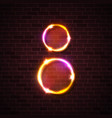 neon light led lamp sign circle design on brick vector image vector image