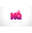 nq n q letter logo with pink purple color and vector image vector image