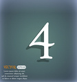 number four icon sign On the blue-green abstract vector image