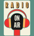radio station on air typographic poster vector image vector image