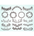 set hand-drawn floral borders and wreaths vector image vector image