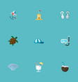 set of beach icons flat style symbols with flip vector image vector image