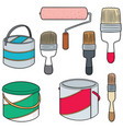 set of paint bucket and paint brush vector image