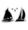 silhouettes sailing yachts and seagulls vector image vector image