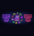 slot machine is a neon sign collection of neon vector image vector image