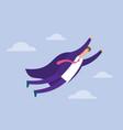 super businessman flying on sky vector image vector image