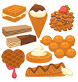 sweet treats with delicious waffles isolated vector image vector image