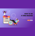 time management horizontal banner vector image vector image