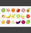whole and cut in halves of fresh fruits and vector image