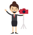 woman with red camera on white background vector image vector image