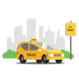 yellow taxi stands vector image