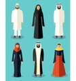 Muslim people flat icons vector image