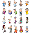 doodle people cartoon set vector image