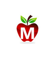 apple letter m logo design template vector image