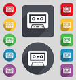 audiocassette icon sign A set of 12 colored vector image vector image
