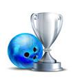 bowling game award blue ball and silver vector image