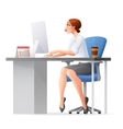 Business woman working in office with desktop vector image
