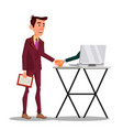 businessman shaking hand extended from screen of vector image