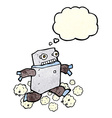 cartoon running robot with thought bubble vector image vector image