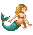 cartoon young cute mermaid vector image vector image
