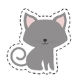 cat fluffy lovely animal cut line vector image vector image
