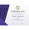 certificate template with golden stars element vector image vector image