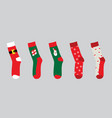 christmas socks set vector image vector image