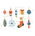 christmas three decorative elements hanging on vector image vector image