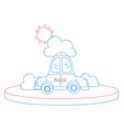 color line police car service with cloud and sun vector image vector image
