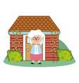 cute grandmother cartoon vector image vector image