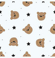 cute seamless pattern with funny teddy bear vector image
