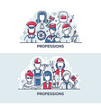 different people professions banner vector image