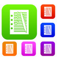 document with plan and pen set collection vector image vector image