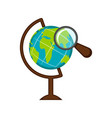 earth globe with a magnifying glass icon vector image
