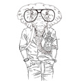 fashion animal elephant dressed up in aloha shirt vector image vector image