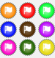 flag icon sign A set of nine different colored vector image