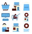 flat icons set shop vector image vector image