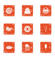 food selection icons set grunge style vector image vector image