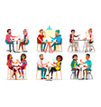 friends in cafe man woman boyfriend vector image