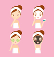 Girl cares and protects her face set vector image vector image