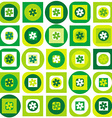 Green pattern of geometric shapes and flowers vector image vector image