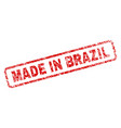 grunge made in brazil rounded rectangle stamp vector image vector image