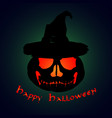 halloween party pumpkin in a hat halloween poster vector image vector image
